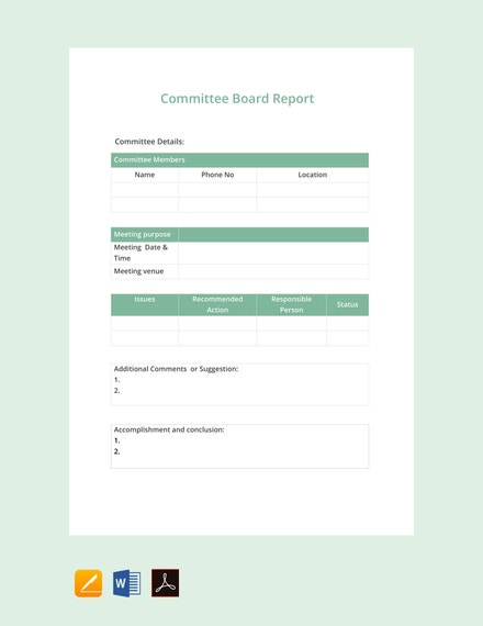committee board report example