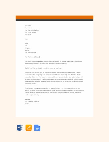 company leave letter template
