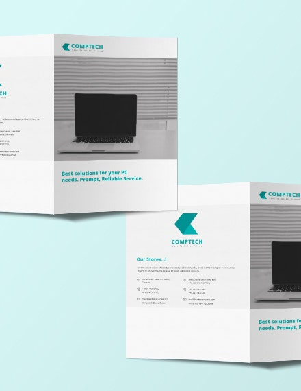 Computer Service Bifold Brochure Template