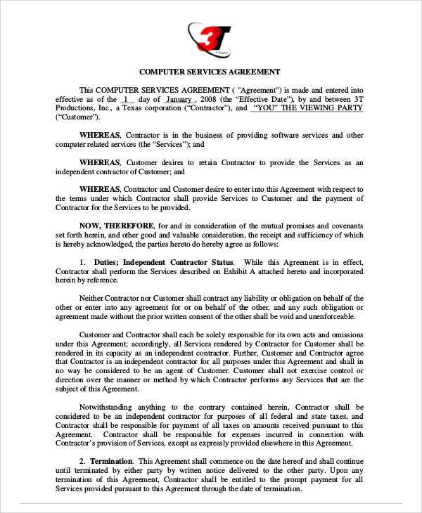 computer services contract agreement