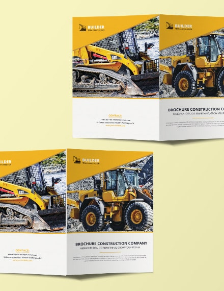 construction business bifold brochure layout