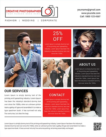 creative photographer business flyer template