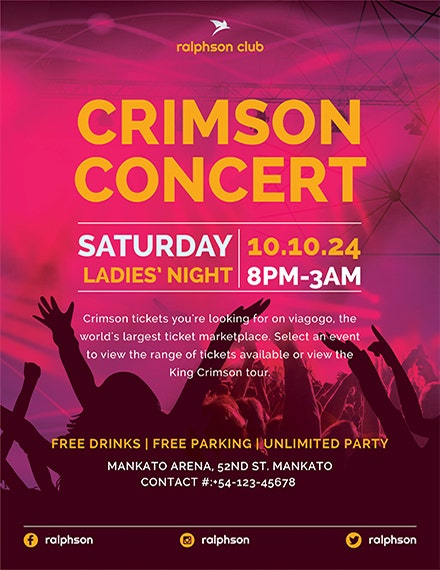 crimson concert flyer template 1