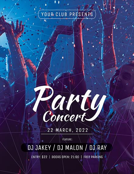 dj party concert flyer template