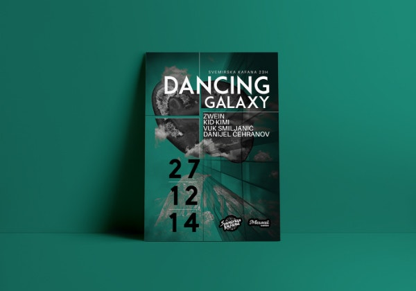 dancing galaxy event poster template