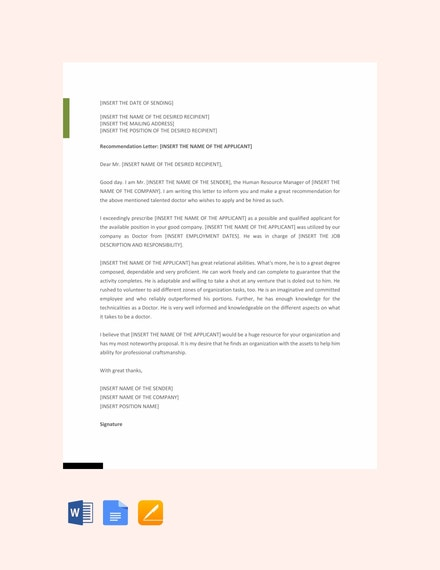 doctor recommendation letter example