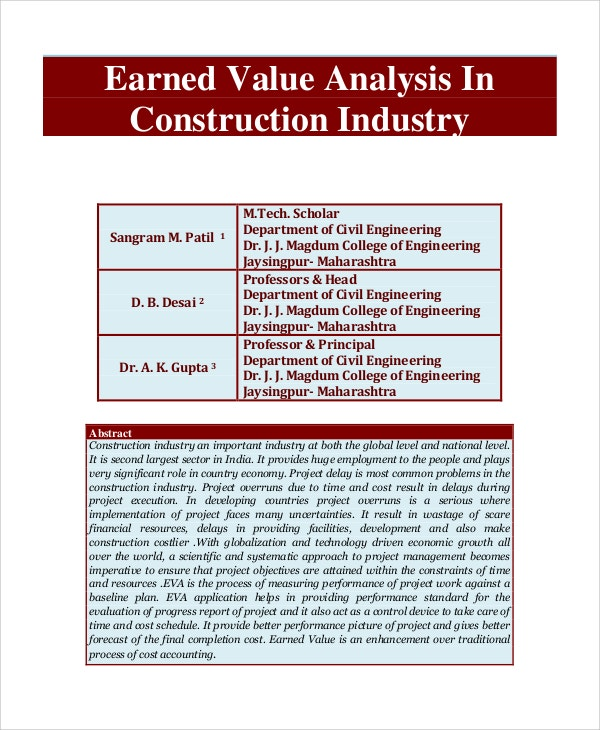 earned value analysis in construction