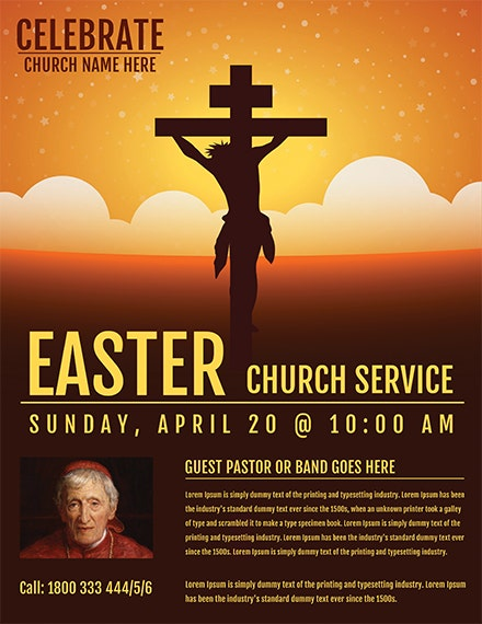 easter church service flyer template