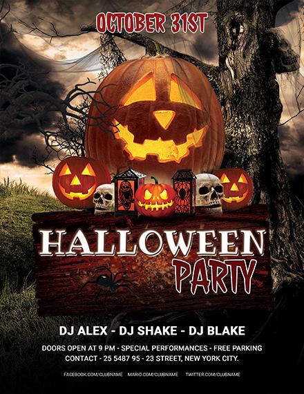 editable halloween party flyer template