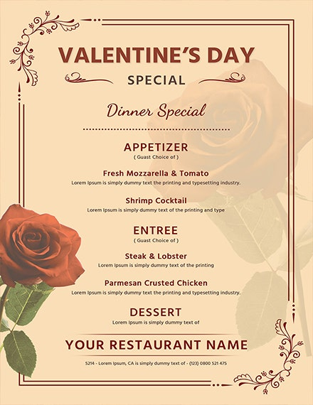 Editable Valentines Day Menu
