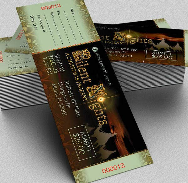 Elegant Night Christmas Ticket Template