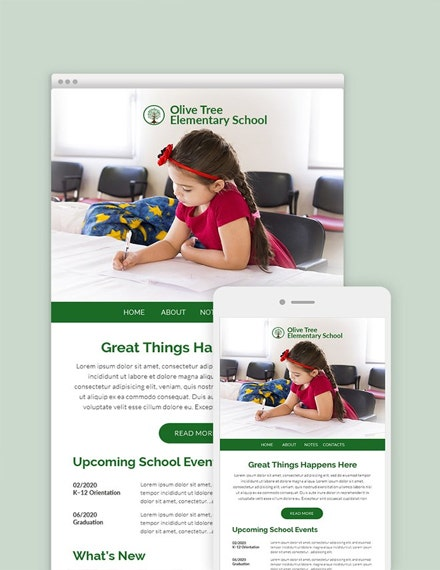 elementary school email newsletter template