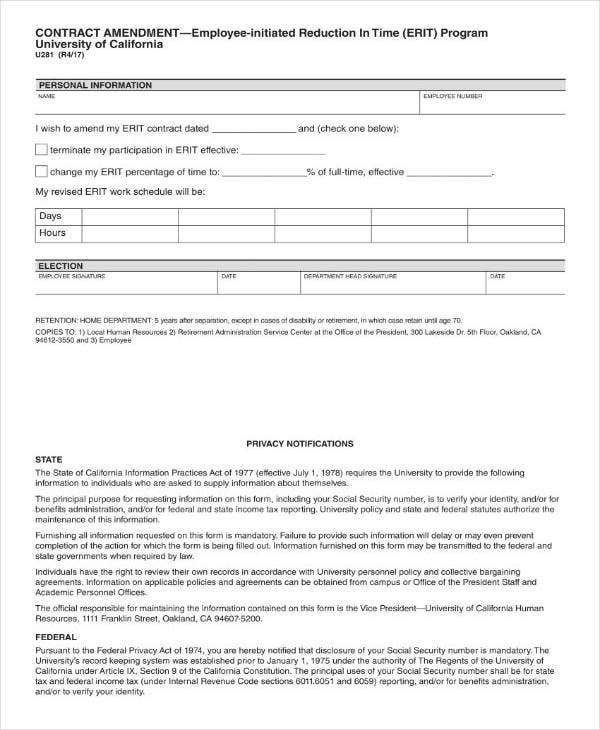 Employee Amendment Contract Template