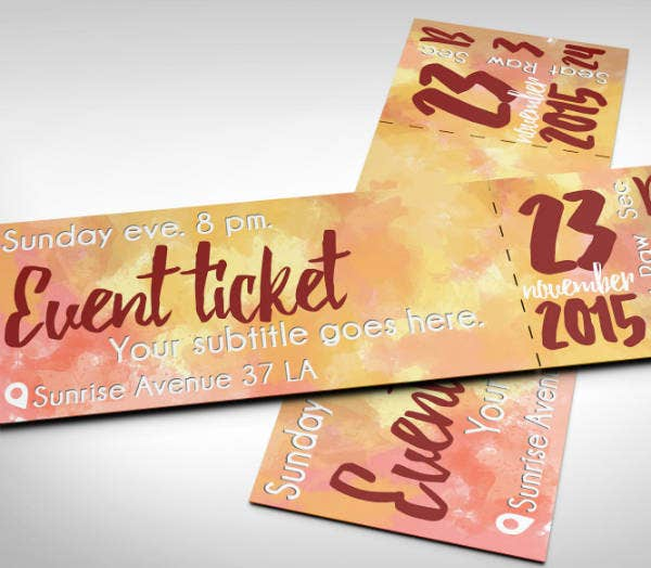 event watercolor ticket template