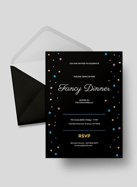 fancy dinner event invitation layout
