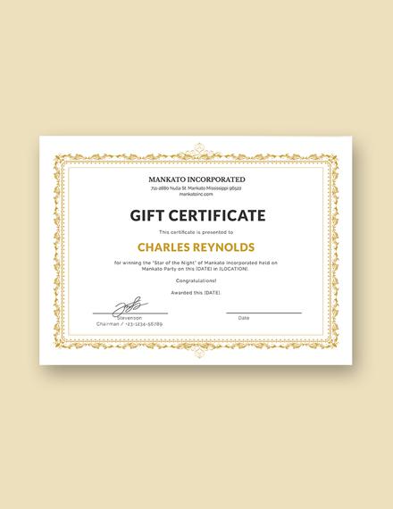 Fancy Gift Certificate