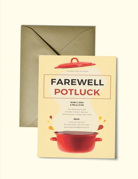 Farewell Event Potluck Invitation Sample