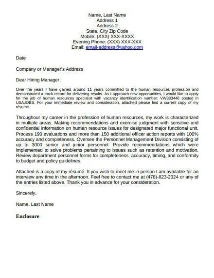 federal government application letter