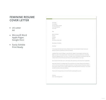 feminine resume cover letter template