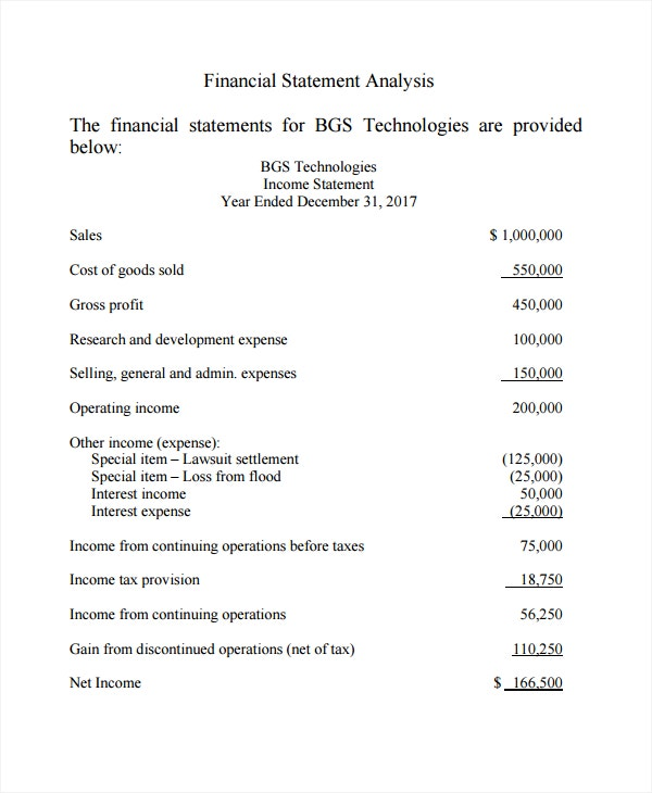 financial income statement analysis