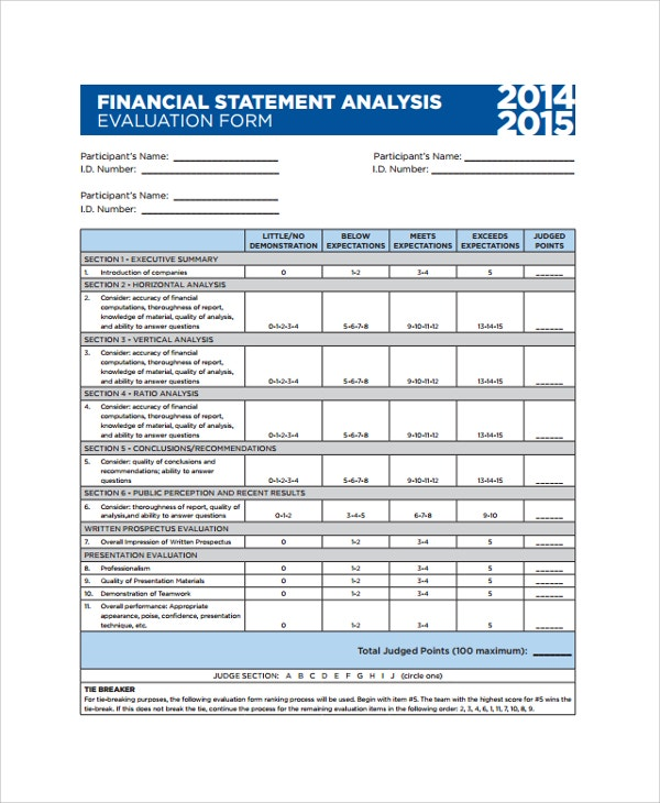 financial statement analysis evaluation template