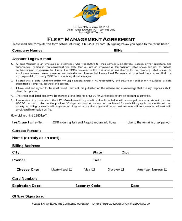 fleet management agreement contract