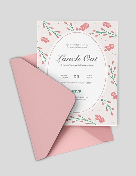 floral lunch out invitation template