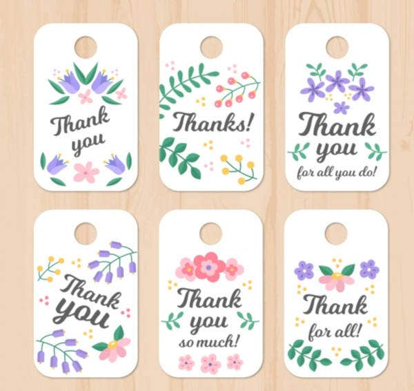 floral thank you tag template