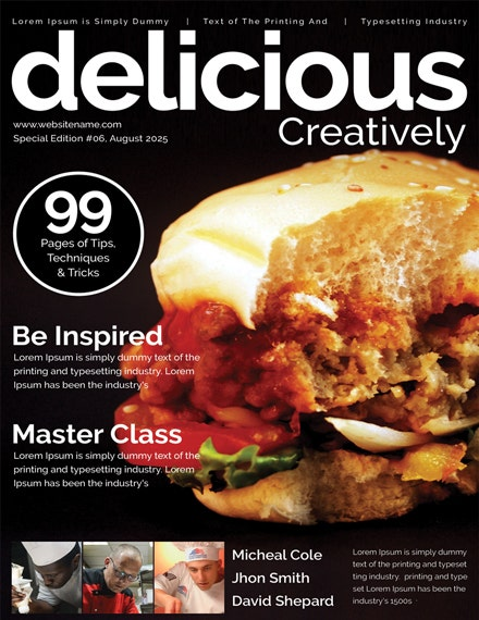 food magazine cover template 1x