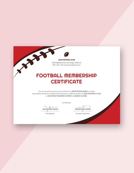 football certificate m1x