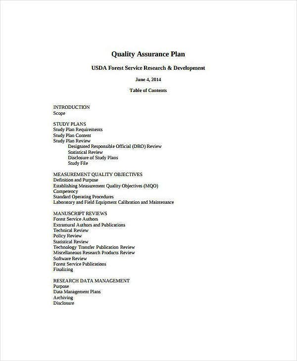 Forest Service Quality Assurance Plan Template