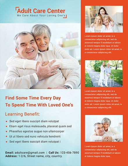 Free Adult Care Center Flyer Template 1x
