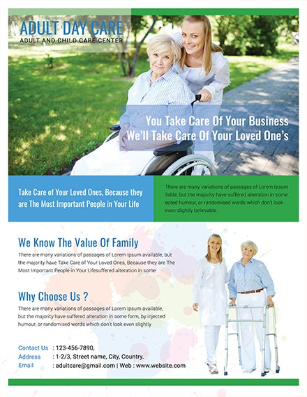 Free Adult Day Care Center Flyer Template 1x
