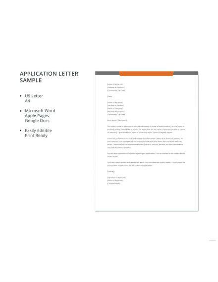 free application letter sample