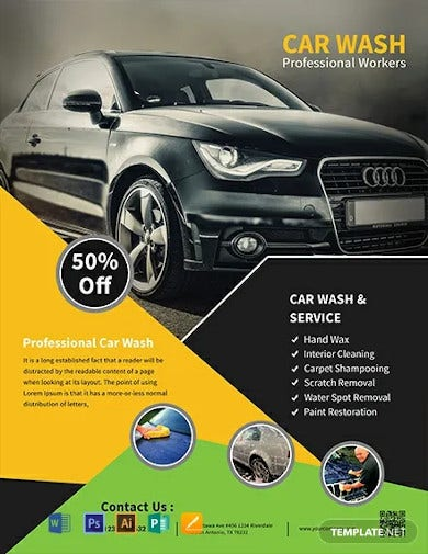 free car wash service flyer template1