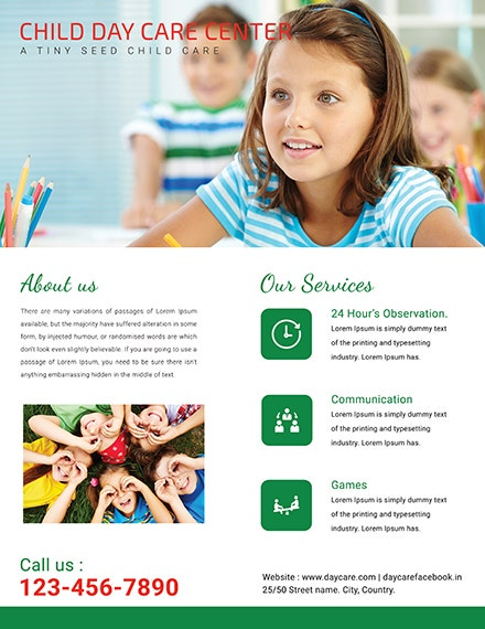Free Child Day Care Flyer Template 440