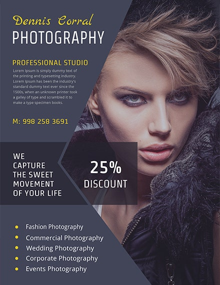 free editable photography flyer template