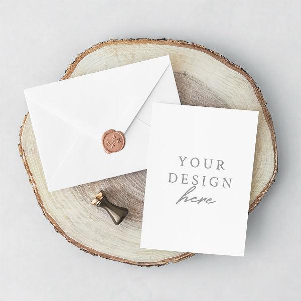 free invitation card envelope design mock up