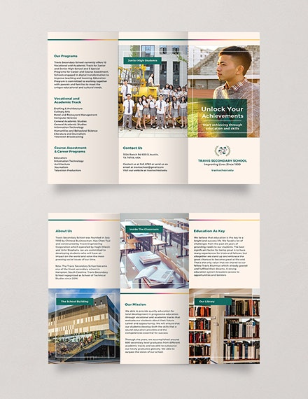 Free Junior High School Brochure Template 4