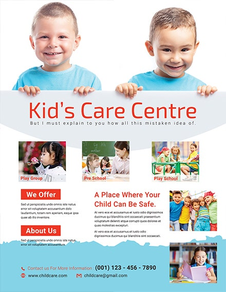 free kid s care center flyer template 1x
