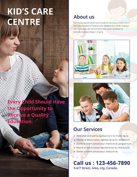 Free Kids Care Advertising Flyer Template 1x