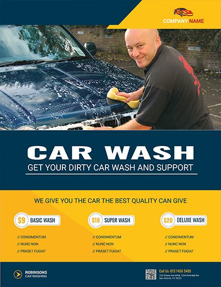 free modern car wash flyer template