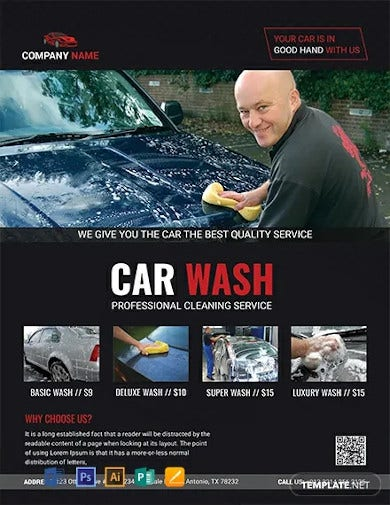 free professional car wash flyer template