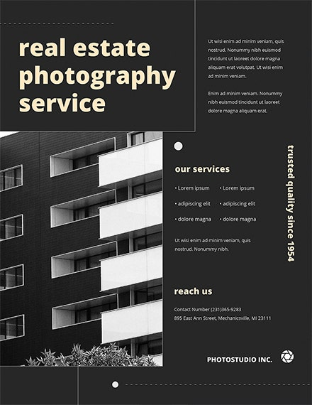 free real estate photography flyer template
