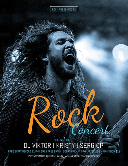 free rock concert flyer template 1x1
