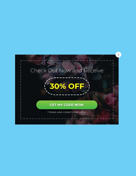 free website coupon pop up template