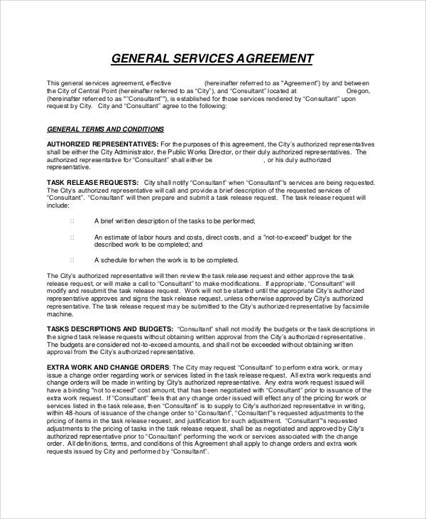 general service agreement contract
