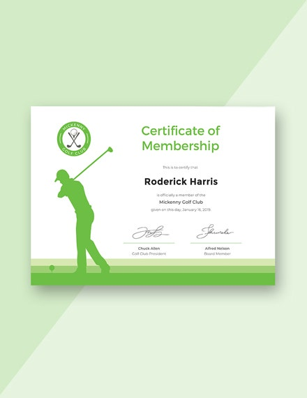 Golf Club Membership Certificate M1X