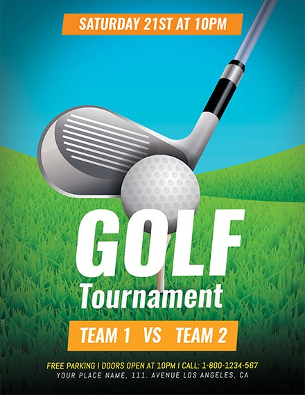 golf tournament sports flyer template