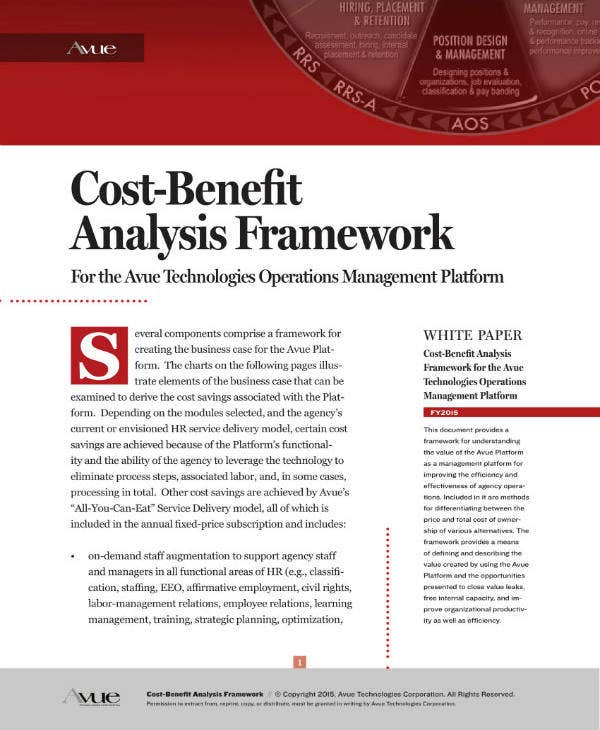 hr cost benefit analysis framework